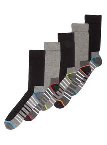 Black Stripe Sports Sock 5 Pack