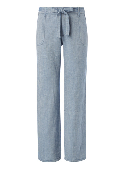 Blue Linen Herringbone Stripe Trousers
