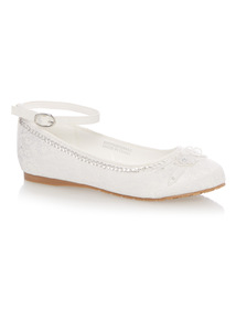 Girls White Lace Occasion Ballerina Shoes