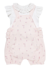 Pink Stripe Bibshort And Bodysuit Set (0 - 12 months)
