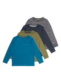 Multicoloured Long Sleeve Dino Tees 4 Pack (9 months-6 years)