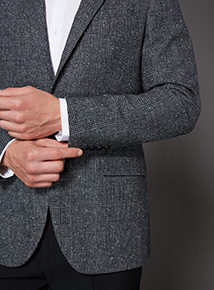 Charcoal Prince Of Wales Wool Mix Slim Fit Jacket