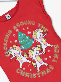 Red Flossing Unicorns Christmas Top (3-14 Years)