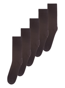 Black Cushion Footbed Socks 5 Pack