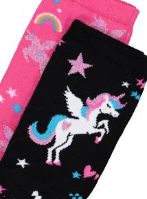 Multicoloured Unicorn Socks 2 Pack