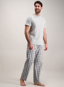 Grey Marl Top & Check Bottom Pyjamas