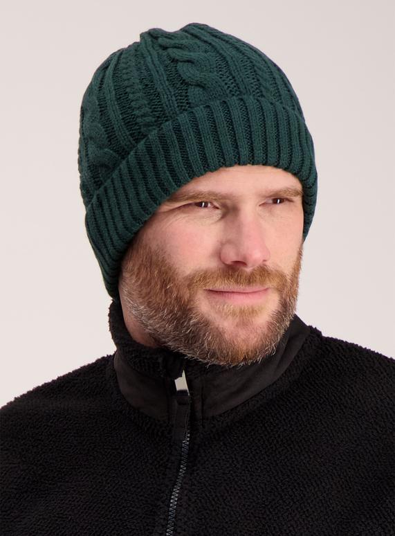 b45e22e7586 Menswear Dark Green Cable Knit Beanie Hat