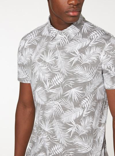 Taupe Leaf Print Polo Shirt