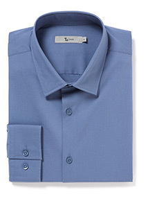 Blue Long Sleeve Slim Fit Shirt With Stretch