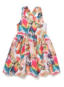 Multicoloured Parrot Print Occasion Dress (3-14 years)