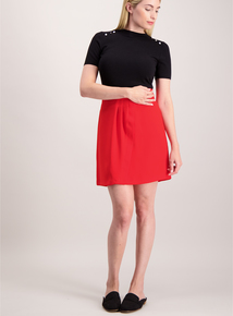 Red Pleat Front Mini Skirt
