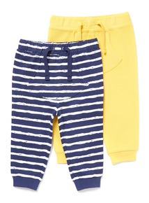2 Pack Stripe and Plain Joggers (0-24 months)