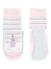 Pink Unicorn Slipper Mock On (3-24 months)