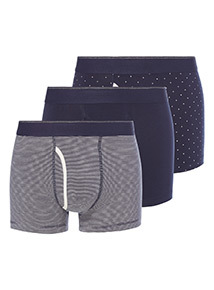 3 Pack Navy Spot and Stripe Trunks