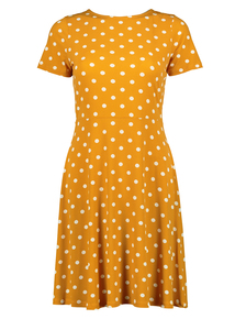 Online Exclusive Mustard Jersey Spot Tea Dress
