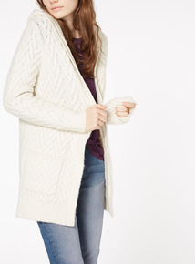 Cable Knit Hooded Coatigan