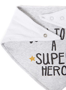 2 Pack Grey Super Hero Hanky Bibs