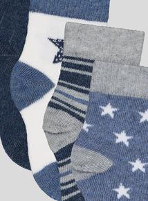 4 Pack Multi-coloured Baseball Socks (1 - 24 months)