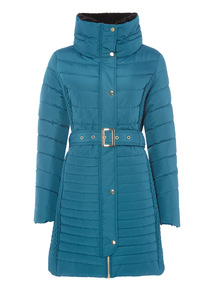 Teal Quilted Belted Coat