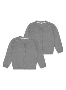 Girls Grey Cardigan 2 Pack