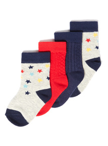 4 Pack Multicoloured Ribbed Socks (1-24 months)