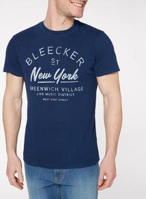 Blue 'New York Bleecker' T-Shirt