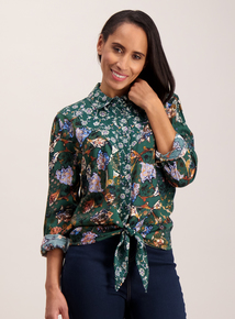 Multicoloured Western Tie Front Shirt