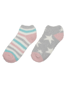 Pastel Coloured Star & Striped Socks 2 Pack