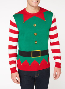Multicoloured Christmas Elf Outfit Jumper