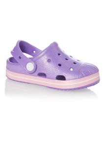 Girls Purple Shell Clogs
