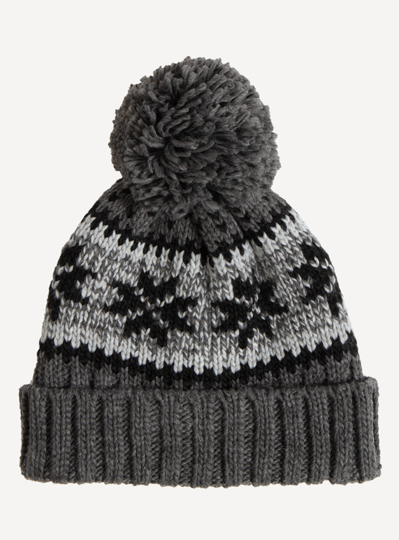 ... Grey   Black Pom-Pom Hat. SKU  CHARCOAL SNOWFLAKE FAIRISLE BEANIE Charcoal One  Size ad95976865a