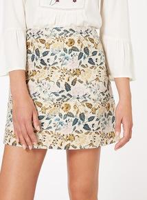 Floral Jacquard A Line Skirt