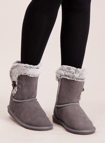 Grey Suede Faux Fur Lined Slipper Boot