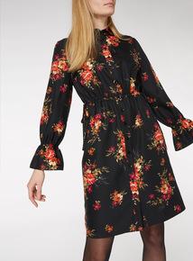Black Floral Tie Side Shirt Dress