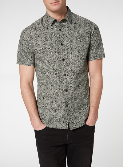 Black Chaos Print Slim Fit Shirt