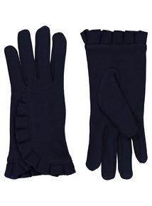 Navy Ruffle Gloves