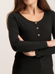 Black Round Neck Button Front Ribbed Top