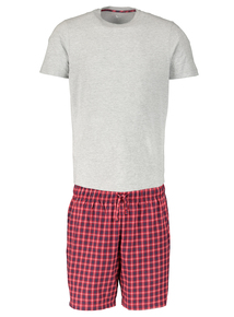 Cotton Rich Crew Neck T-Shirt and Short Pajamas