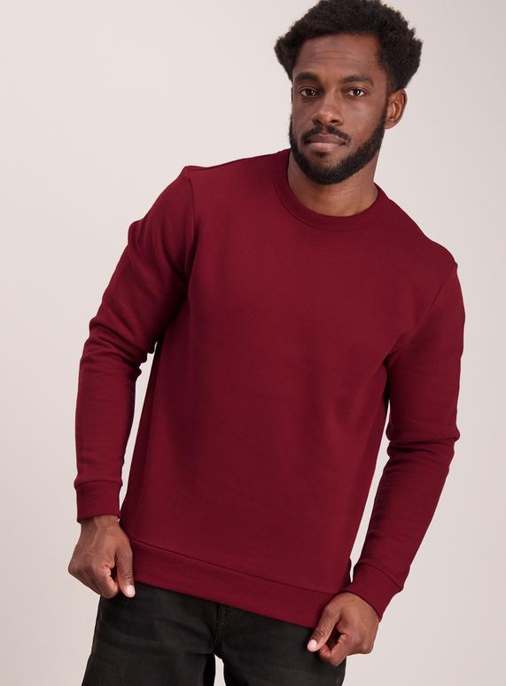 361e1d93 Menswear Burgundy Crew Sweatshirt | Tu clothing