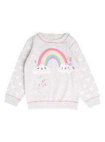 Girls Grey Rainbow Jumper (0-24 months)