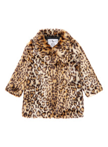 Multicoloured Leopard Faux Fur Coat (3-14 years)
