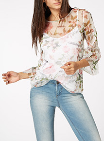 Multicoloured Floral Mesh Layer Top
