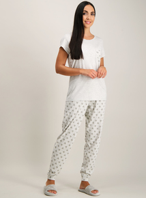 Grey Heart Print Pyjamas