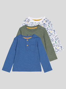 Multicoloured Bear Adventures Long Sleeve T-Shirts 3 Pack (0-24 months)
