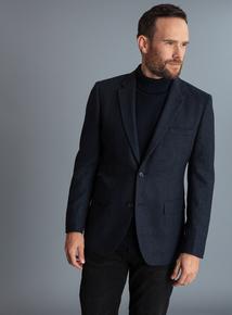 Navy Herringbone Tailored Fit Blazer