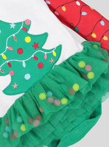 Multicoloured Christmas Tree Tutu Bodysuit With Tights (0- 24 months)