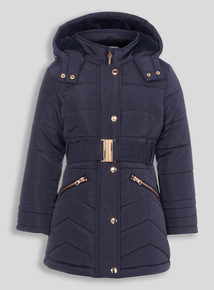 Girls Navy Puffa Coat (3-12 years)