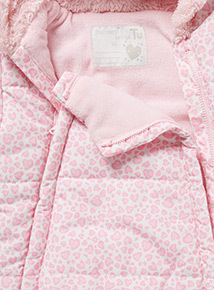 Pink Heart Printed Snowsuit (0-24 months)