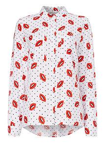 Multicoloured Lip Print Shirt
