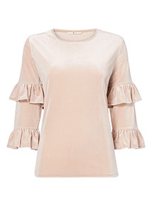 Velour Fluted Sleeve Top